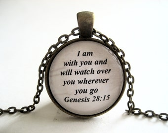 I Am With You Scripture Necklace Bible Verse Genesis 28:15