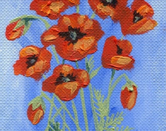 Original Oil ACEO Painting 'Poppy Group'