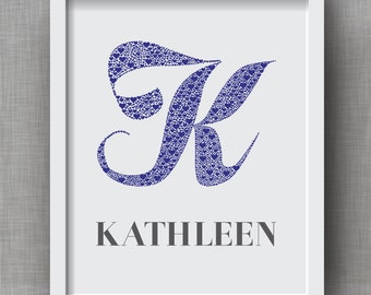 Custom Baby Name Art - Letter K Monogram Nursery Art, Initial Art Print, Baby Boy, Baby Girl, Baby Initial, Nursery Print