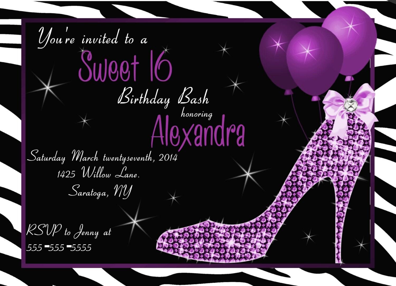 Bling Sweet 16 Party InvitationRhinestone Invitations Sweet 16 – 16 Birthday Invitations