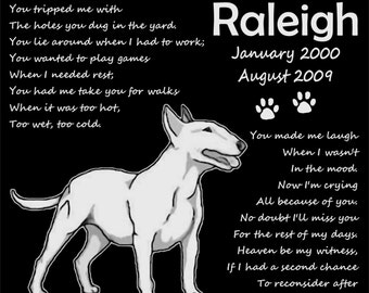 """Personalized Bull Terrier Dog Pet Memorial 12x12 Inch Custom Engraved Granite Grave Marker Plaque """"Raleigh"""""""