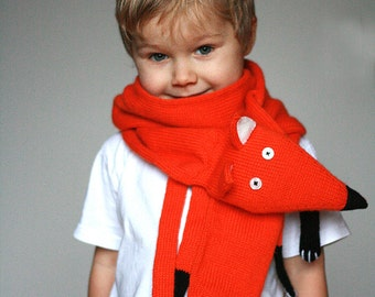Fox knit scarf - Children Fox scarf  - Red Fox scarf kids - Animal scarf - Knitted scarf - Child scarf - Knitted woman scarf - Knit scarf