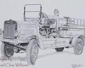 Fine Art Print of Osh Kosh Fire Engine Combination Pumper Truck on 11x17 Art Paper