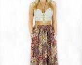 Vintage 1970's Hippie Boho Fall Maxi Skirt
