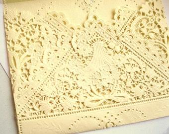 10 Cream Lace envelopes Elegant wedding invitation liners Vanilla vintage Ivory doily envelopes Qty 10 A7, A9, or square envelopes custom