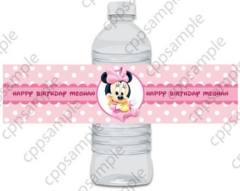 Baby Minnie Mouse Water Bottle Label - Digital File