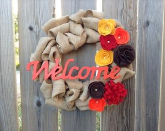 Fall Wreath, Burlap Wreath, Door Wreath, Felt Flower Wreath, Fall Decor