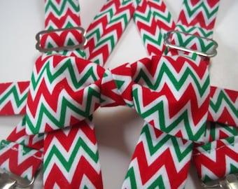 Christmas Chevron Bow Tie & Suspenders-Christmas Bow Tie-Christmas Bow Tie Toddler-Christmas Bow Tie-Holiday Tie