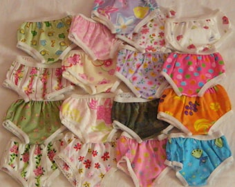 """3 pair Print Panties for 12 to 14"""" Dolls Like The American Girl Bitty Baby,  Bitty Twins"""