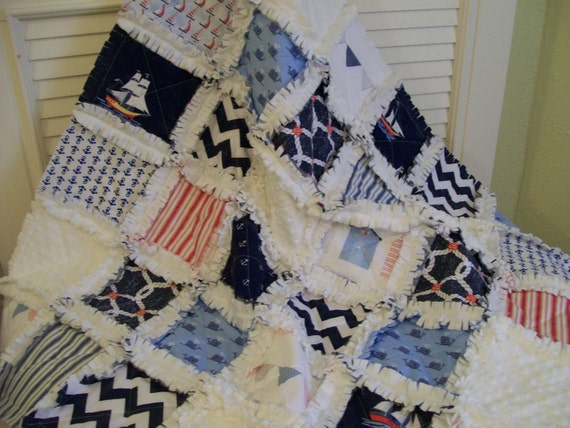 Seafarer Baby Rag Quilt All Minky Backing Nautical Sailboats