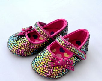 ON SALE!!! Baby Swarovski Crystal pink multi purple green pram Shoes 3-6 months bridesmaid
