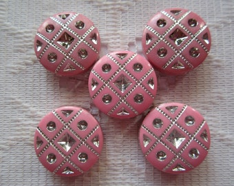 10  Bubble Gum Pink & Silver Etched Flat Round Coin Acrylic Beads  18mm