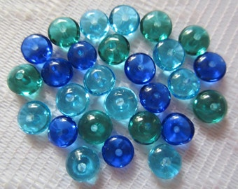 27 Shades of Cobalt Turquoise Blue & Aqua Green Transparent Round Saucer Disc Glass Beads  7mm
