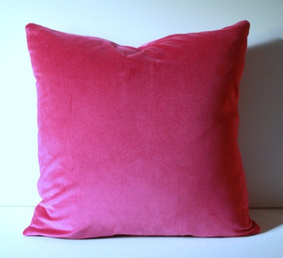 Designer Bright Hot Pink Velvet 18x18 Decorative Throw Toss