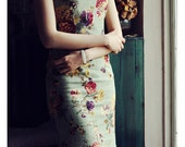 Green Retro Cotton Linen Floral Cheongsam /  Length -85cm ~ 130cm - RockRollRefresh