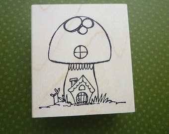 gnome home wood mounted rubber stamp KP5124G