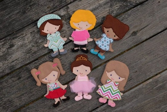 All girl paper doll set in the hoop embroidery by