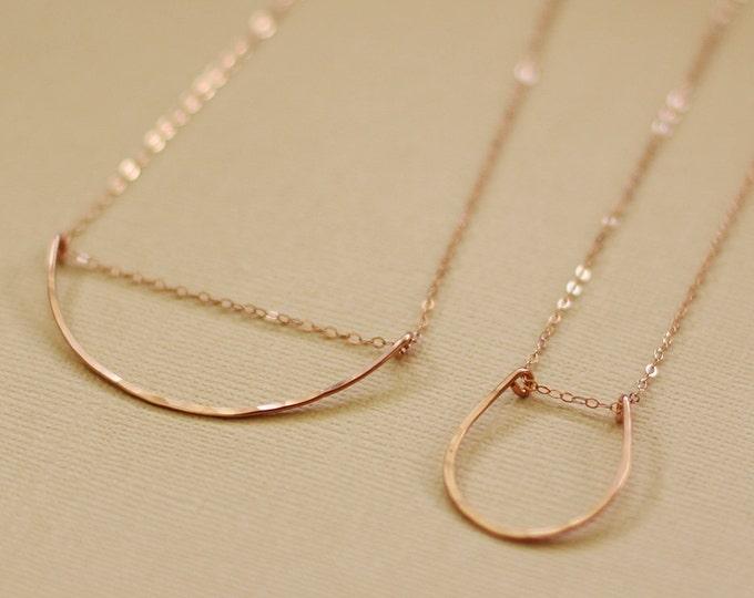 Rose Gold Curved Bar or Horsshoe Necklace - Rose Gold Filled