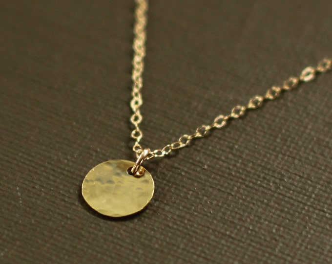 Gold Disc Necklace - Hand Hammered - 14K Gold Filled Chain