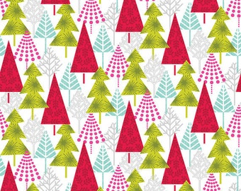 DISCONTINUED Hip Holiday, Hip Forest White Fabric Yard by Josephine Kimberling for Blend Fabric , Christmas in July, 114.103.03.1, Christmas