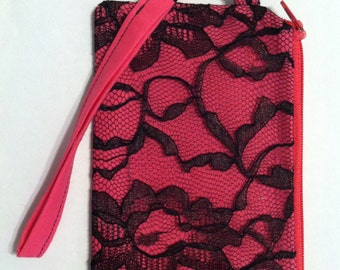 Pink with Black Lace Zippered Wristlet Purse