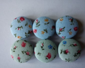 Sage and Cornflower Floral Fabric covered button fridge magnets set of 6 in gift tin