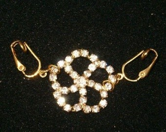 DesignerFloral Rhinestone intimate female Clip NO Pierce