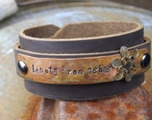 Custom Stamped Bracelet ... Weathered Copper with Antiqued Silver and Brass Flower on Leather Wrap Around Cuff