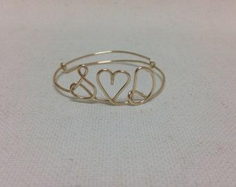 Customized / Personalized Monogram Heart Wire Bracelets