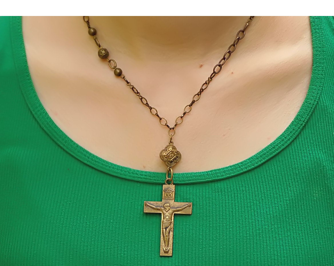 brass catholic cross necklace catholic jewelry catholic