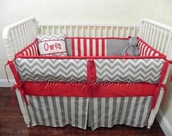 Custom Baby Bedding Set Owen -  Boy Baby Bedding, Gray & Red Crib Bedding