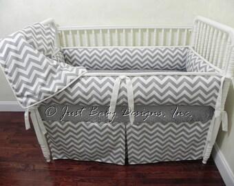 Custom Baby Bedding Set Kenzie - Gray Crib Bedding, Gender Neutral Baby Bedding, Gray Chevron & White Baby Bedding