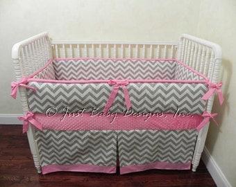 Custom Crib Bedding Set Aimee - Girl Baby Bedding, Pink and Gray Baby Bedding, Chevron Crib Bedding