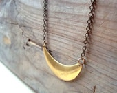 Brass Crescent Necklace, Minimalist Necklace, Brass Jewelry, Layering Necklace, Gifts Under 30, Simple, Retro, Modern, Gold Necklace