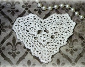Heart Applique in Ivory for Applique, Scrapbooking, Dresses, Jewelry, Handbags, Altered Projects, Crafting AP-008