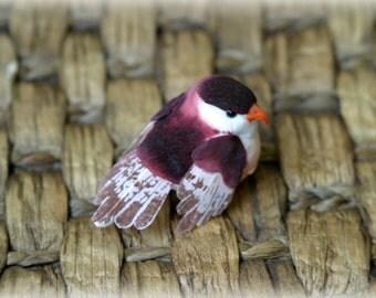 Maroon Bird - Fake Bird - Artificial Bird - Craft Bird - Feathers - Millinery - Hat Decor - little bird - Cute Bird - Ornament - AN-012
