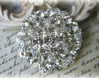 Large Rhinestone Brooch ~ Crystal Brooch ~ Brooch Bouquet, Bridal Jewelry, Costume Jewelry, Crafting, etc RH-022