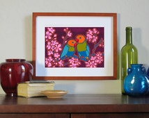 Pair of LOVE BIRDS - Fine Art Print - 2 Sizes - 2 Color Schemes - Available as an Art Block or a Print with a Free Mat (PVAL2013021)