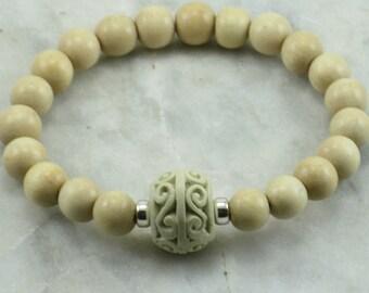 Peace Mala Bracelet  - Cream Wood Mala Beads - Carved Wood -  21 Bead Wrist Mala - Buddhist Prayer Beads for peace