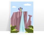 Disney Pixar Up Paradise Falls Mountain Waterfall Ellie Carl House - MANY SIZES - Modern Film Children Kids Nursery Art Print