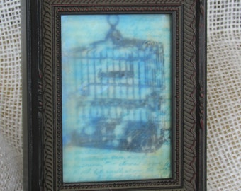 Mixed Media Encaustic Wax Bird Cage Image Encaustic Wax Finish Stamped Script Background, Colored with Pan Pastels.
