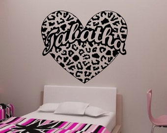 Cheetah Spot Heart with Custom Name Vinyl Wall Decal 26""