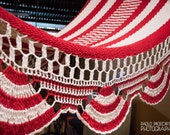 "Red & White Handwoven Hammock Natural Cotton / Thread Thickness ""18"""