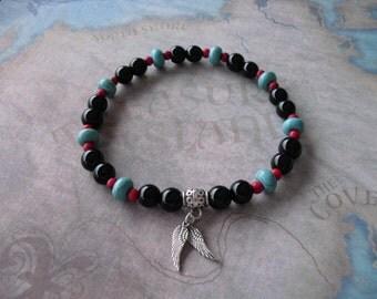 Black onyx & turquoise bracelet