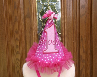 Girls 1st Birthday Party Hat - Pink  & White Polka Dots Party Hat - Free Personalization