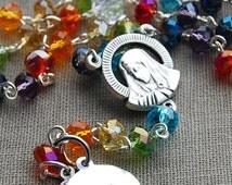 Initial Rosary. Personalized Rosary. Rainbow Rosary. Mother of Dolorosa Catholic Rosary.  Handmade Rosary. Crystal Rosary. Baptism Gift.