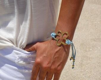 Suede Bracelet with gold Flower, Adjustable, in 10 Colors