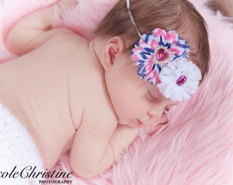 Pink, blue and white chevron flowers with hot pink rhinestone jewels - Gorgeous Photo Prop! Hair clip or Hair bow