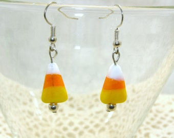 Glass Candy Corn Earrings, Simple And Cute Candy Corn Earrings, Halloween Jewelry, Halloween Earrings, Candy Earrings, Candy Corn Earrings