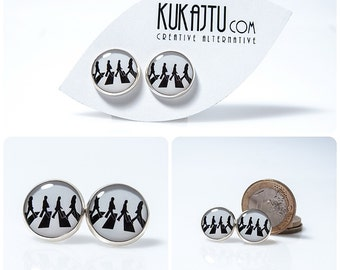 The Beatles Stud Earrings The Beatles Jewelry Music Jewelry Black and White Post Earrings Abbey Road Stud Earings